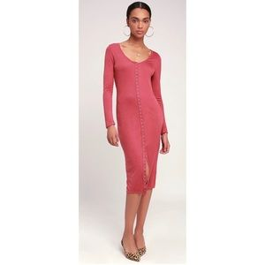 Lulus Rose Ribbed Snap Front Long Sleeve Dress